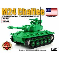 BRICKMANIA 255G Xếp hình kiểu Lego MILITARY ARMY M24 Chaffee (Green) M24 Xiafei Tank (green) Xe Tăng M24 Xiafei (xanh Lục) 280 khối