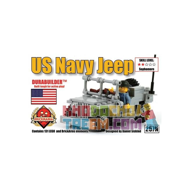 BRICKMANIA 257N Xếp hình kiểu Lego MILITARY ARMY US Navy Jeep U.S. Navy Jeep Xe Jeep Của Hải Quân Hoa Kỳ 131 khối