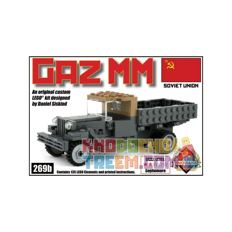 BRICKMANIA 269B Xếp hình kiểu Lego MILITARY ARMY Gaz MM Utility Truck Gaz MM Multi-purpose Truck Xe Tải đa Dụng Gaz MM 135 khối