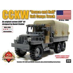 "BRICKMANIA 272 Xếp hình kiểu Lego MILITARY ARMY CCKW ""Deuce And A Half"" 6×6 Cargo Truck CCKW 6×6 Truck Xe Tải CCKW 6 × 6 292 khối"