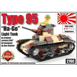 """BRICKMANIA 276C Xếp hình kiểu Lego MILITARY ARMY Type 95 """"Ha-Go"""" Light Tank Type 95 Light Tank Ha-Go Xe Tăng Hạng Nhẹ Type 95 Ha-Go 294 khối"""