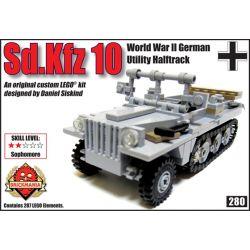 BRICKMANIA 280 Xếp hình kiểu Lego MILITARY ARMY Sd.Kfz 10 WW2 German Utility Halftrack Sd.Kfz 10 WWII German Multipurpose Half-tracked Vehicle Sd.Kfz 10 Xe Bán Bánh Xích đa Dụng Của Đức Trong Thế Chiế