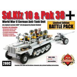 BRICKMANIA 280B Xếp hình kiểu Lego MILITARY ARMY Sd.Kfz 10 Pak 38 Battle Pack Sd.Kfz 10 Half-tracked Vehicle Pak 38 Anti-tank Gun Battle Pack Gói Súng Chống Tăng Sd.Kfz 10 Bánh Xích Pak 38 363 khối