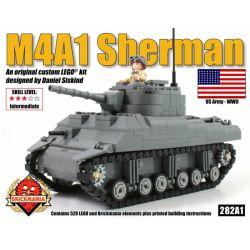 BRICKMANIA 282A1 Xếp hình kiểu Lego MILITARY ARMY M4A1 Sherman Tank Xe Tăng M4A1 Sherman 528 khối