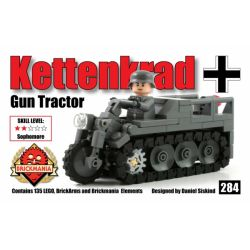 BRICKMANIA 284 Xếp hình kiểu Lego MILITARY ARMY Kettenkrad Gun Tractor SdKfz 2 Artillery Tractor Máy Kéo Pháo SdKfz 2 135 khối