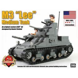 """BRICKMANIA 285 Xếp hình kiểu Lego MILITARY ARMY M3 Lee Medium Tank M3 """"Li"""" Medium Tank Tăng Hạng Trung M3 """"Li"""" 652 khối"""