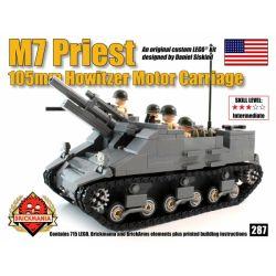 BRICKMANIA 287 Xếp hình kiểu Lego MILITARY ARMY M7 Priest Self-propelled Artillery Pháo Tự Hành M7 Priest 715 khối