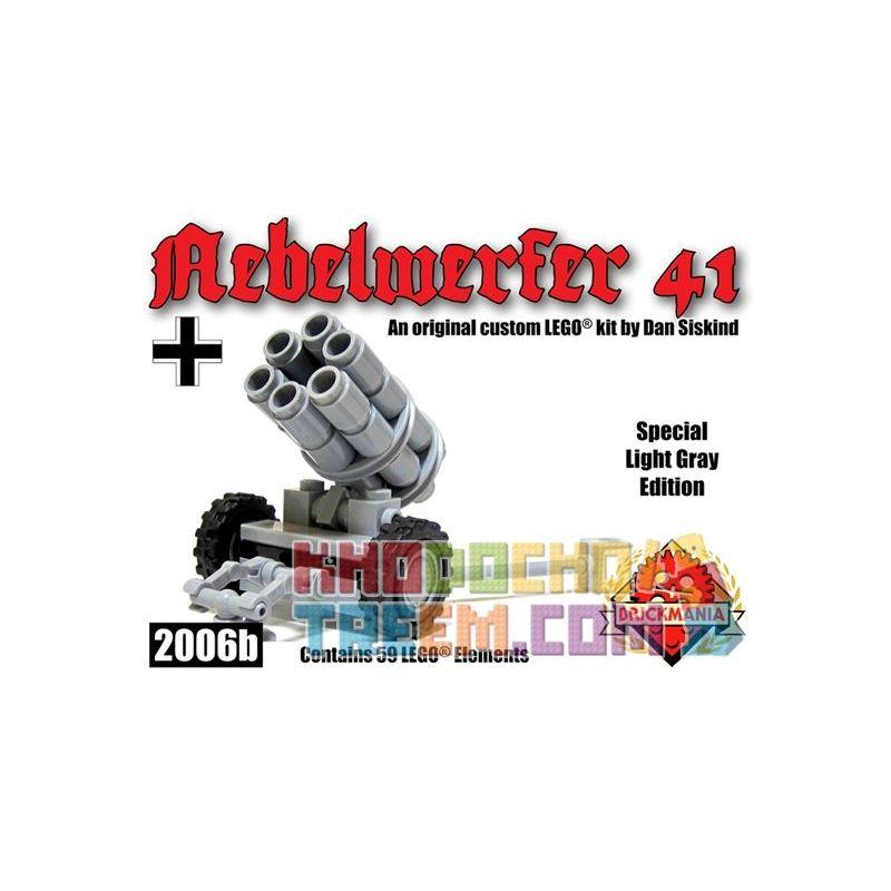 BRICKMANIA 2006B Xếp hình kiểu Lego MILITARY ARMY Nebelwerfer 41 – Light Gray Six Chamber Rocket Launcher-Light Gray Sáu Buồng Phóng Tên Lửa-Xám Nhạt 40 khối