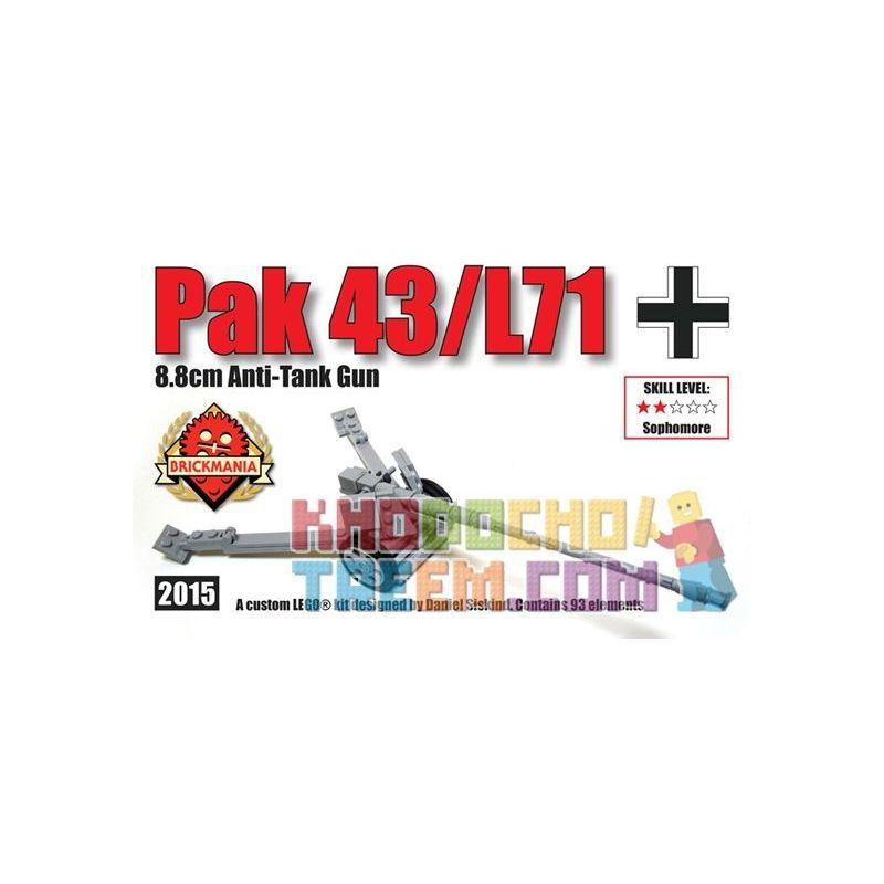 BRICKMANIA 2015 Xếp hình kiểu Lego MILITARY ARMY Pak 43 L71 Anti-tank Gun Súng Chống Tăng Pak 43 L71 93 khối