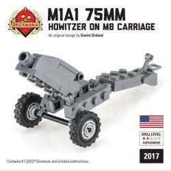 BRICKMANIA 2017 Xếp hình kiểu Lego MILITARY ARMY M1A1 75mm Howitzer On M8 Carriage Lựu Pháo 75mm M1A1 41 khối