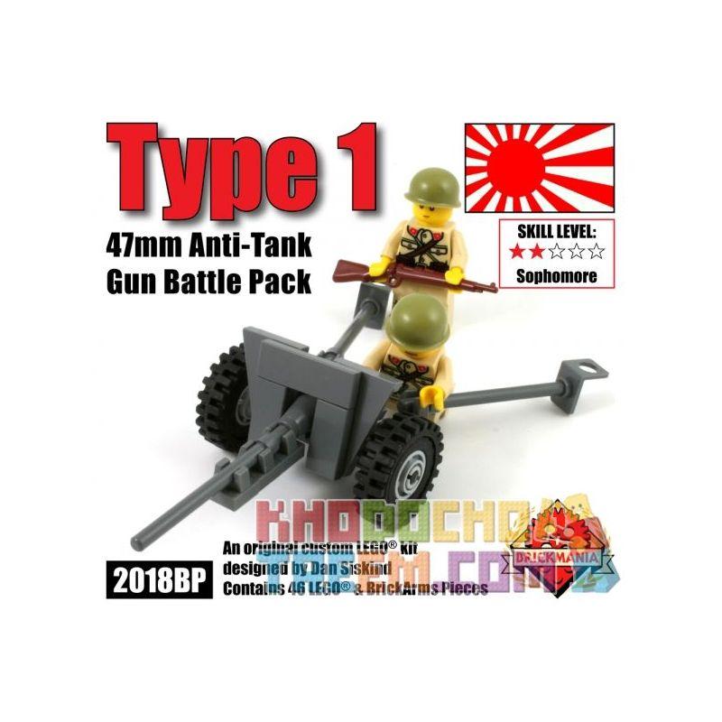 BRICKMANIA 2018BP Xếp hình kiểu Lego MILITARY ARMY Type 1 47mm Anti-Tank Gun Battle Pack One Type 47mm Anti-tank Gun Combat Kit Một Bộ Chiến đấu Súng Chống Tăng Loại 47mm 46 khối