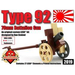 BRICKMANIA 2019 Xếp hình kiểu Lego MILITARY ARMY Type-92 70mm Batallion Gun 92 Infantry Artillery 92 Pháo Binh Bộ Binh 27 khối