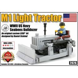 BRICKMANIA 2026 Xếp hình kiểu Lego MILITARY ARMY M1 Light Tractor US Navy Seabees Bulldozer Máy Kéo Hạng Nhẹ M1 155 khối
