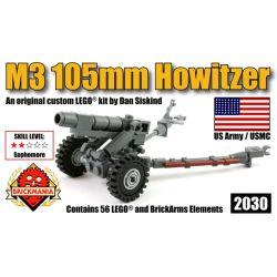 BRICKMANIA 2030 Xếp hình kiểu Lego MILITARY ARMY M3 105mm Howitzer Lựu Pháo M3 105mm 56 khối