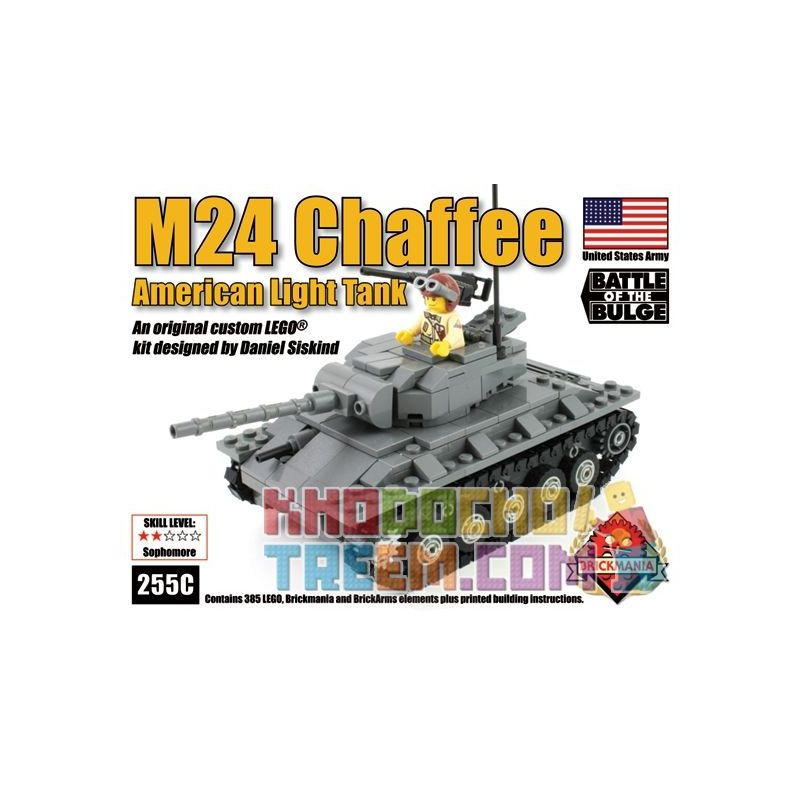 BRICKMANIA 255C Xếp hình kiểu Lego MILITARY ARMY M24 Chaffee Light Tank M24 Xiafei Light Tank Tăng Hạng Nhẹ M24 Xiafei 385 khối