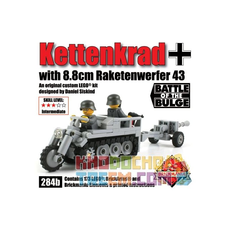 BRICKMANIA 284B Xếp hình kiểu Lego MILITARY ARMY Kettenkrad With 8.8cm Raketnwerfer 43 SdKfz 2 Half-track Motorcycle And 88mm Raketenwerfer 43 Recoilless Gun Xe Mô Tô Bán Tải SdKfz 2 Và Súng Không Giậ
