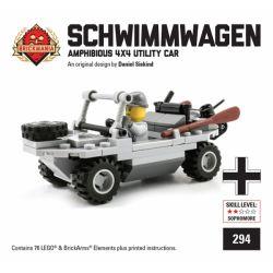 BRICKMANIA 294 Xếp hình kiểu Lego MILITARY ARMY Schwimmwagen VW166 Amphibious Car Xe Lội Nước VW166 76 khối