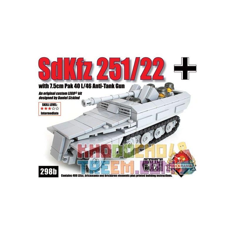 BRICKMANIA 298B Xếp hình kiểu Lego MILITARY ARMY Sdkfz 251 22 Half-track Vehicle Xe Bán Tải Sdkfz 251 22 408 khối