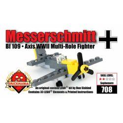 BRICKMANIA 708 Xếp hình kiểu Lego MILITARY ARMY Messerschmitt Bf-109 Mini Kit Messerschmidt Bf 109 Mini Set Bộ Mini Messerschmidt Bf 109 33 khối