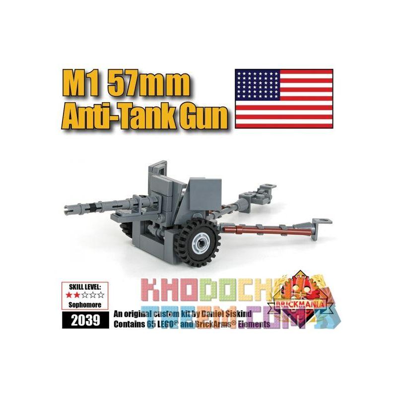 BRICKMANIA 2040 Xếp hình kiểu Lego MILITARY ARMY M1 57mm AntiTank Gun M1 57mm Anti-tank Gun Súng Chống Tăng M1 57mm 65 khối