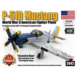 """BRICKMANIA 2042 Xếp hình kiểu Lego MILITARY ARMY P-51D Mustang """"Blue Nose"""" P-51D Mustang Fighter Máy Bay Chiến đấu P-51D Mustang 350 khối"""