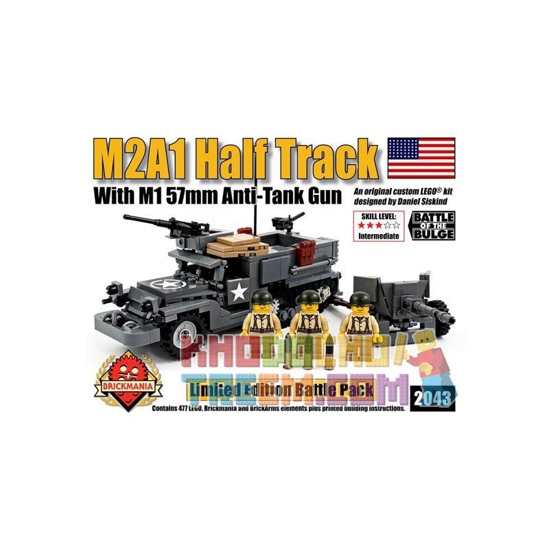 BRICKMANIA 2043 Xếp hình kiểu Lego MILITARY ARMY M2A1 Halftrack With M1 57mm Anti-Tank Gun M2A1 Half Truck And M1 57mm Anti-tank Gun Xe Nửa Bánh Xích M2A1 Và Súng Chống Tăng M1 57mm 477 khối