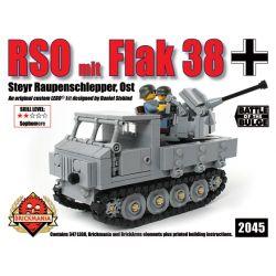 BRICKMANIA 2045 Xếp hình kiểu Lego MILITARY ARMY RSO Mit Flak 38 RSO Tractor And Type 38 Anti-aircraft Gun Máy Kéo RSO Và Pháo Phòng Không Kiểu 38 347 khối