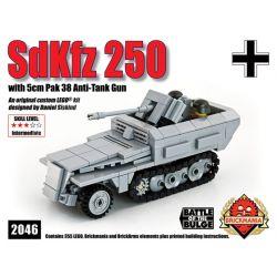 """BRICKMANIA 2046 Xếp hình kiểu Lego MILITARY ARMY SdKfz 250 Lang Mit Pak 38 (""""Pakwagen"""") Sd.Kfz. 250 Half-track Vehicle And 38 Type Anti-aircraft Gun Xe Bán Tải Sd.Kfz. 250 Và Súng Phòng Không Loại 38"""