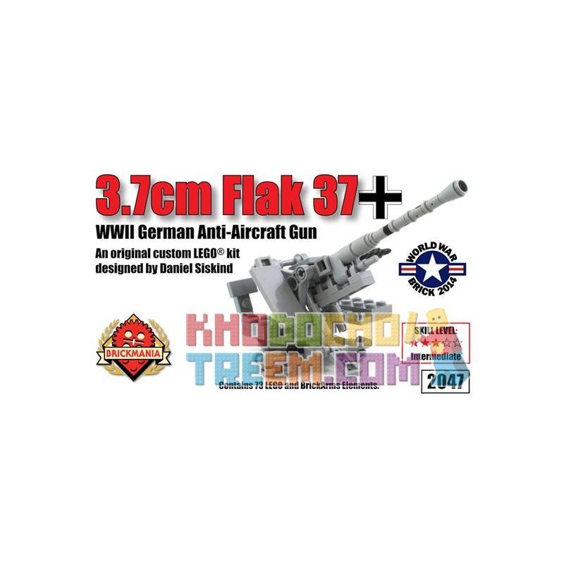 BRICKMANIA 2047 Xếp hình kiểu Lego MILITARY ARMY 3.7cm Flak 37 Anti-Aircraft Gun Type 37 3.7cm Anti-aircraft Gun Pháo Phòng Không Kiểu 37 3,7cm 73 khối
