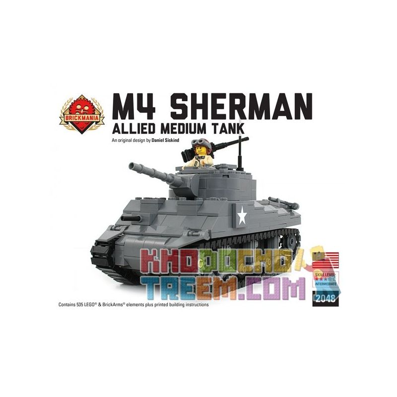BRICKMANIA 2048 Xếp hình kiểu Lego MILITARY ARMY M4 Sherman - Allied Medium Tank -Custom LEGO Kit M4 Sherman-Allied Heavy Tank-Custom Lego Kit Bộ đồ Chơi Lego Tùy Chỉnh Xe Tăng Hạng Nặng M4 Sherman-Al