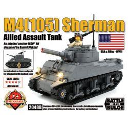 BRICKMANIA 2048B Xếp hình kiểu Lego MILITARY ARMY M4(105) Sherman Assault Tank M4 (105) Sherman Tank M4 (105) Xe Tăng Sherman 585 khối
