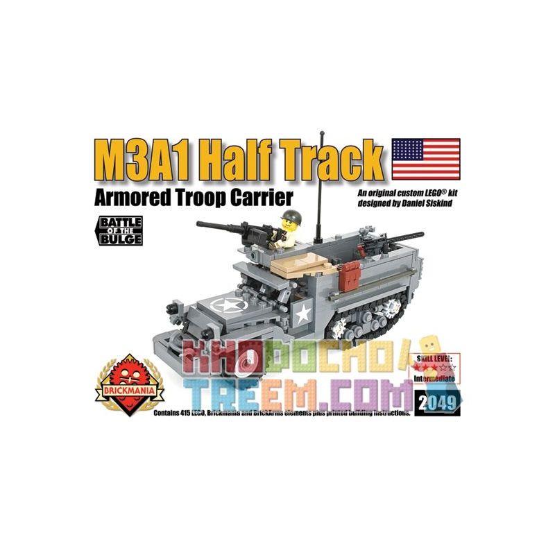 BRICKMANIA 2049 Xếp hình kiểu Lego MILITARY ARMY M3A1 Half Track Armored Troop Carrier M3A1 Half Tracked Vehicle Xe Nửa Bánh Xích M3A1 415 khối