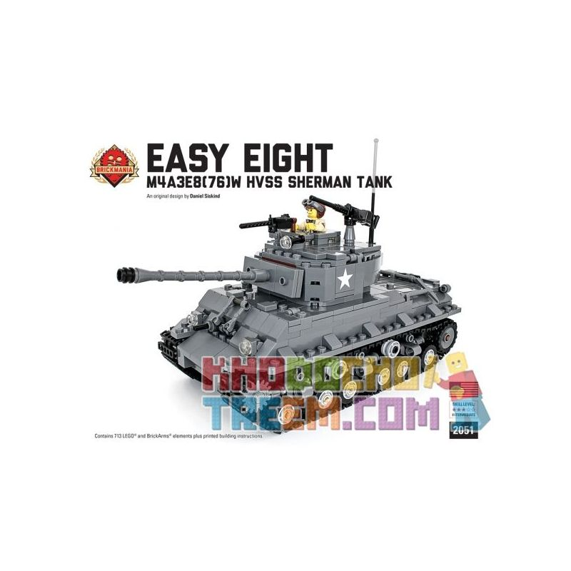 BRICKMANIA 2051 Xếp hình kiểu Lego MILITARY ARMY Easy Eight - M4A3E8(76)W Sherman Tank Kit Easy Eight-M4A3E8(76)W Sherman Tank Set Bộ Xe Tăng Sherman Eight-M4A3E8 (76) W Easy 713 khối