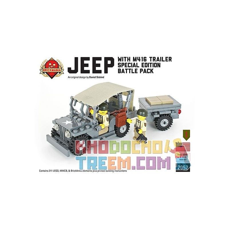 BRICKMANIA 2052 Xếp hình kiểu Lego MILITARY ARMY Jeep With M416 Trailer Jeep And M416 Trailer Xe Jeep Và M416 211 khối