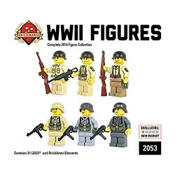 BRICKMANIA 2053 Xếp hình kiểu Lego MILITARY ARMY WWII Figure Box (2014) Minifigure Box Of World War II (2014) 31 khối