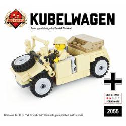 BRICKMANIA 2055 Xếp hình kiểu Lego MILITARY ARMY Kubelwagen – Tan DAK Edition Type 82 Barrel Car-Tan DAK Version Kiểu 82 Xe Thùng-Phiên Bản Tấn DAK 127 khối