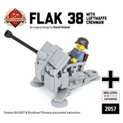 BRICKMANIA 2057 Xếp hình kiểu Lego MILITARY ARMY Flak 38 With Luftwaffe Crewman Type 38 Anti-aircraft Gun And Luftwaffe Soldiers Pháo Phòng Không Kiểu 38 Và Binh Lính Không Quân Đức 58 khối