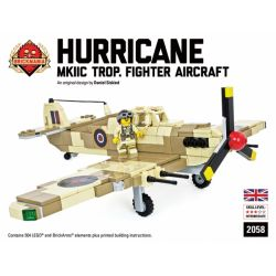 BRICKMANIA 2058 Xếp hình kiểu Lego MILITARY ARMY Hurricane IIc Trop - Premium Black Box Edition Kit Hurricane Fighter IIc Trop-Premium Black Box Edition Set Bộ Hộp đen Hurricane Fighter IIc Trop-Premi