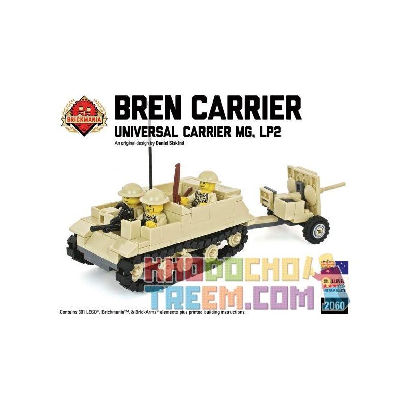 BRICKMANIA 2060 Xếp hình kiểu Lego MILITARY ARMY Bren Carrier LP2 With 2 Pounder Anti-Tank Gun General-purpose Vehicle LP2 And 2-pounder Anti-tank Gun Xe đa Dụng LP2 Và Súng Chống Tăng 2 Pounder 301 k