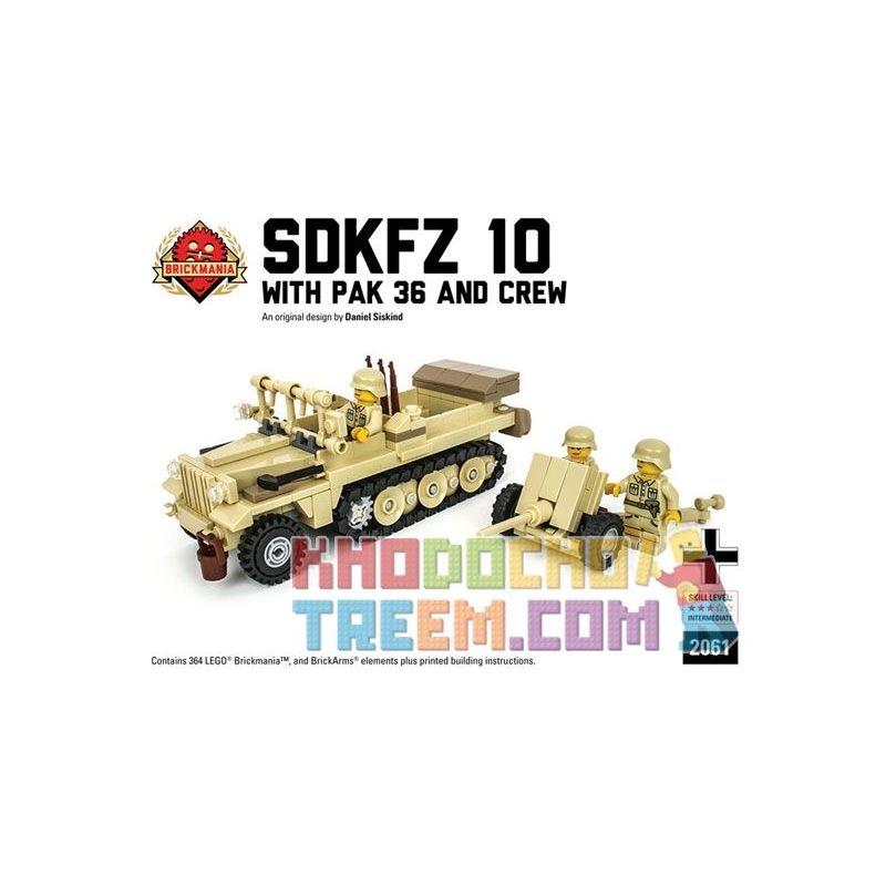 BRICKMANIA 2061 Xếp hình kiểu Lego MILITARY ARMY SdKfz 10 With Pak 36 And Crew (DAK Edition) SdKfz 10 Half-tracked Vehicle And Pak36 Anti-tank Gun And Soldier (DAK Version) Xe Nửa Bánh Xích SdKfz 10 V