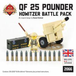 BRICKMANIA 2066 Xếp hình kiểu Lego MILITARY ARMY QF 25- Pounder Howitzer Battle Pack QF 25 Pound Howitzer Combat Pack Túi đựng Lựu Pháo QF 25 Pounder 125 khối