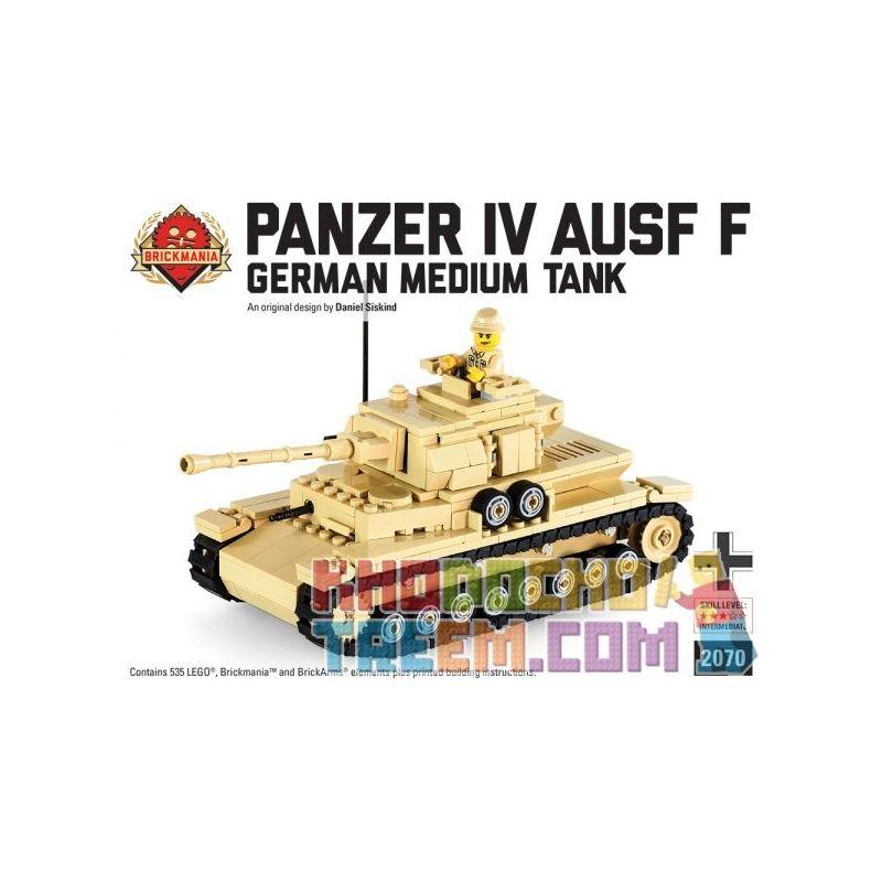 BRICKMANIA 2070 Xếp hình kiểu Lego MILITARY ARMY Panzer IV Ausf F Building Kit No. 4 Tank F Type Building Set Bộ Xây Dựng Loại F Bể Số 4 535 khối