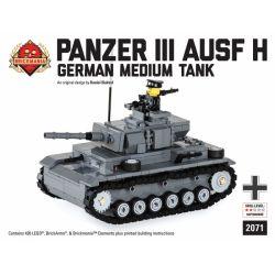 BRICKMANIA 2071 Xếp hình kiểu Lego MILITARY ARMY Panzer III Ausf H - German Medium Tank Tank III H-German Medium Tank Xe Tăng Hạng III H-xe Tăng Hạng Trung Của Đức 426 khối