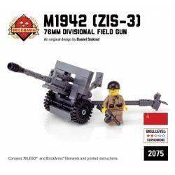 BRICKMANIA 2075 Xếp hình kiểu Lego MILITARY ARMY M1942 ZiS-3 76mm Field Gun Súng Trường M1942 ZiS-3 76mm 78 khối