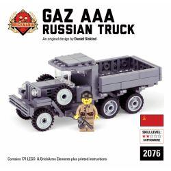 BRICKMANIA 2076 Xếp hình kiểu Lego MILITARY ARMY Gaz AAA Russian Truck Xe Tải Gaz AAA Nga 171 khối