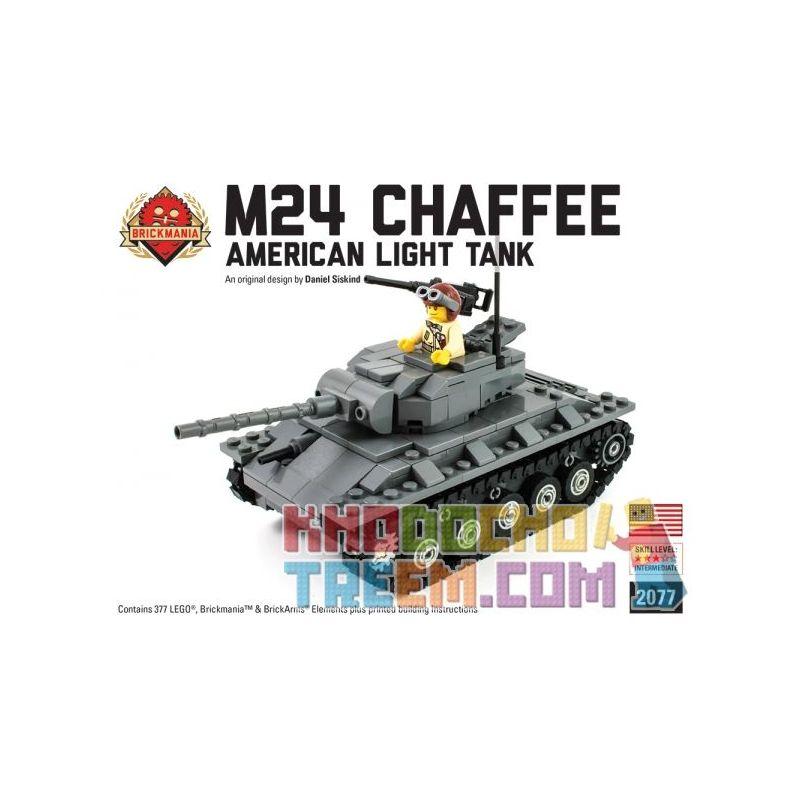BRICKMANIA 2077 Xếp hình kiểu Lego MILITARY ARMY M24 Chaffee Light Tank M24 Xiafei Light Tank Tăng Hạng Nhẹ M24 Xiafei 377 khối