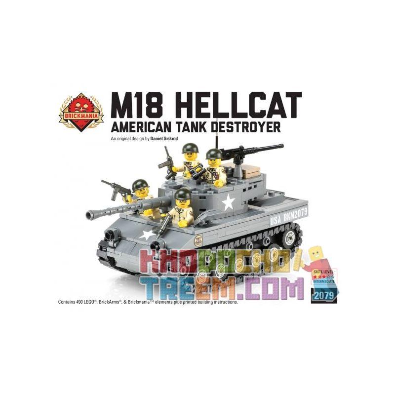 BRICKMANIA 2079 Xếp hình kiểu Lego MILITARY ARMY M18 Hellcat - American Tank Destroyer - Premium Black Box Kit M18 Hellcat-American Destroyer Tank-Premium Black Box Edition Set Bộ Phiên Bản Hộp đen Ca
