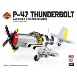 BRICKMANIA 2082 Xếp hình kiểu Lego MILITARY ARMY P-47 Thunderbolt - American Fighter-Bomber - Premium Black Box Building Kit P-47 Thunder Fighter-American Fighter Bomber-Premium Black Box Edition Set