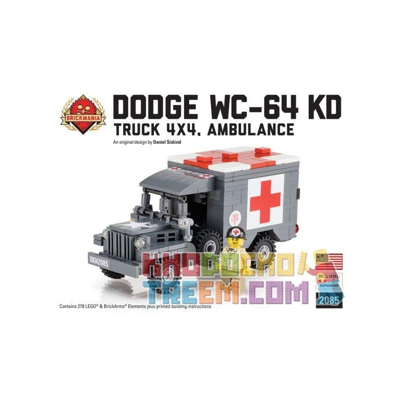 BRICKMANIA 2085 Xếp hình kiểu Lego MILITARY ARMY Dodge WC-64 KD Truck 4x4 Ambulance Xe Tải Dodge WC-64 KD Xe Cứu Thương 4x4 278 khối