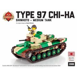 BRICKMANIA 2088 Xếp hình kiểu Lego MILITARY ARMY Type 97 Shinhoto Chi-Ha - Japanese Medium Tank Type 97 Medium Tank Chi-Ha-Japanese Medium Tank Tăng Hạng Trung Type 97 Chi-Ha-Tăng Hạng Trung Nhật Bản